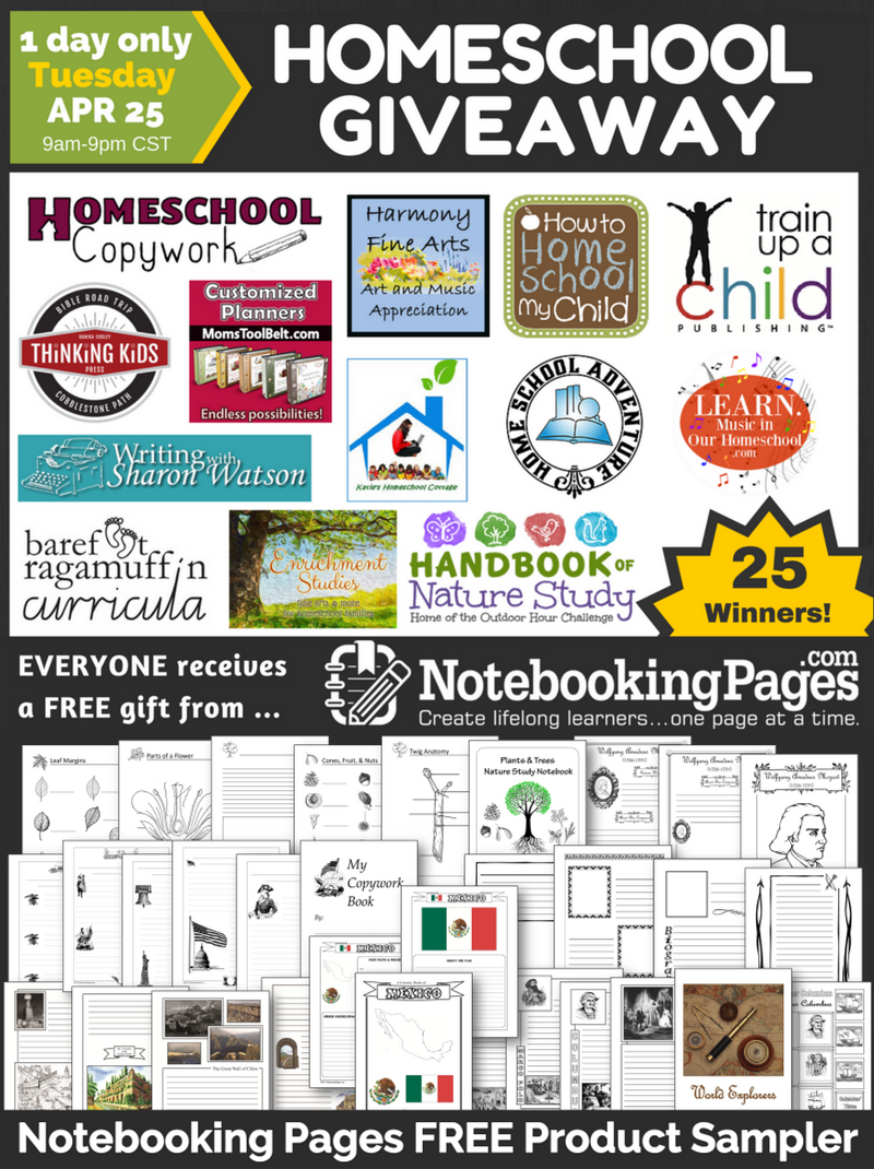 Notebooking Pages Homeschool Giveaway