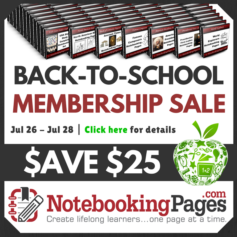 Charlotte Mason Copywork | Back-to-School Notebooking Pages Membership Sale