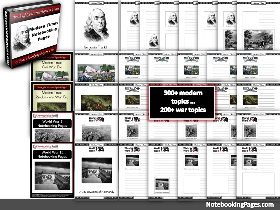 Modern Times, Revolutionary War, Civil War, World War I, World War II Notebooking Pages