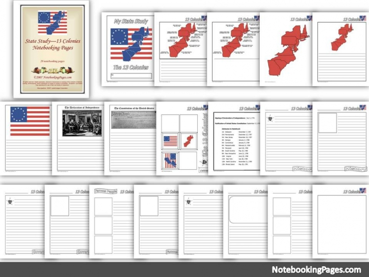 13 Colonies Themed Notebooking Pages