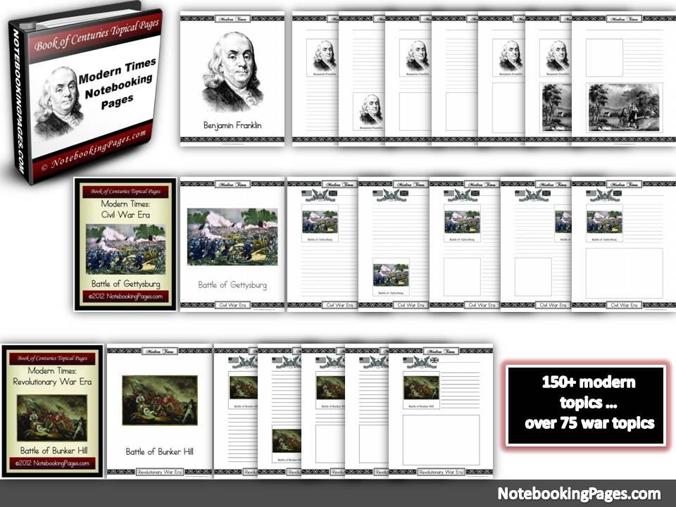 Modern Times, Revolutionary War, Civil War Notebooking Pages
