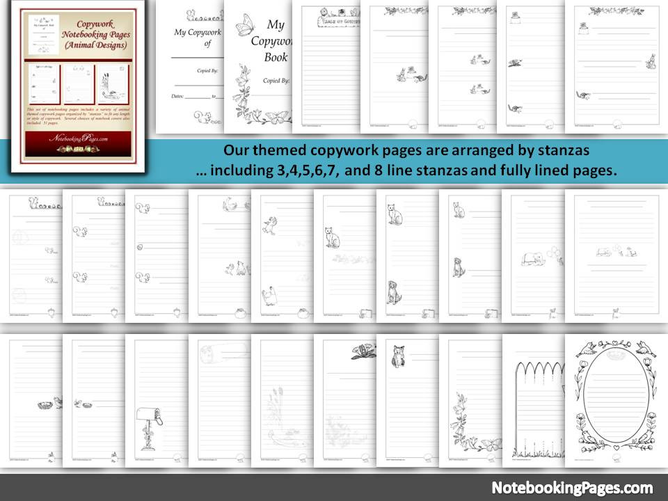 Animal Copywork Notebooking Pages