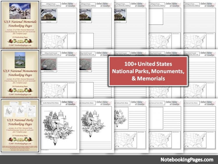 USA National Memorials, Monuments, & Parks Notebooking Pages