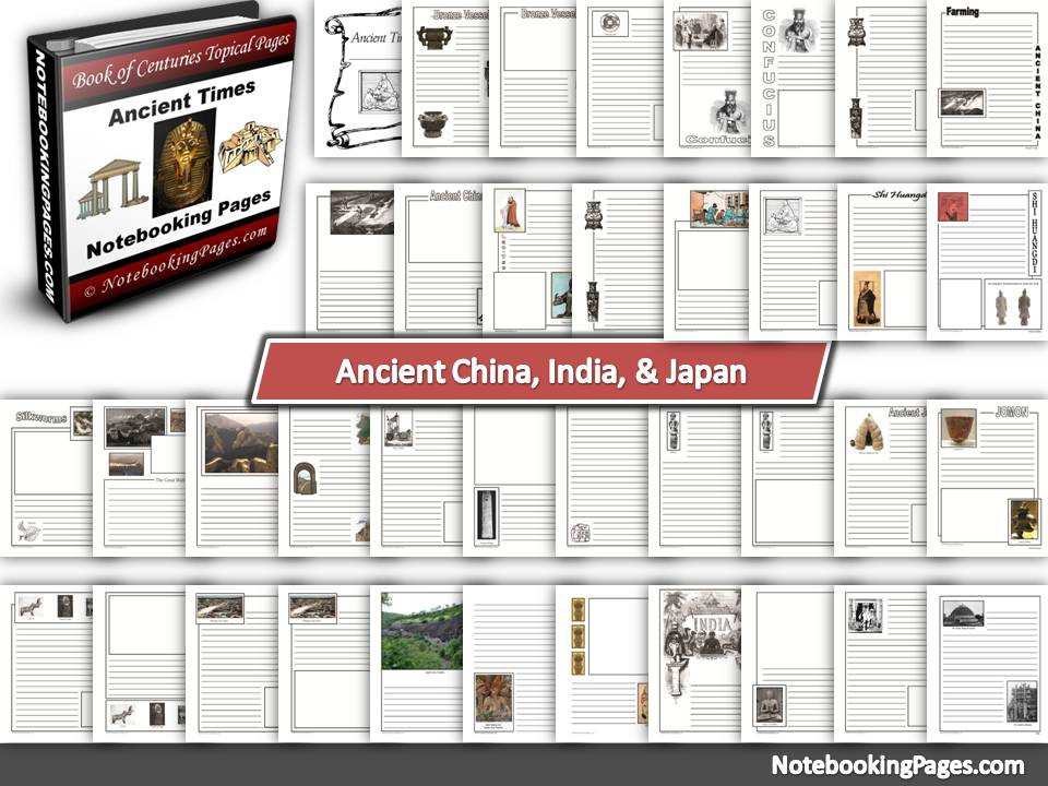 Ancient China, India, & Japan Notebooking Pages