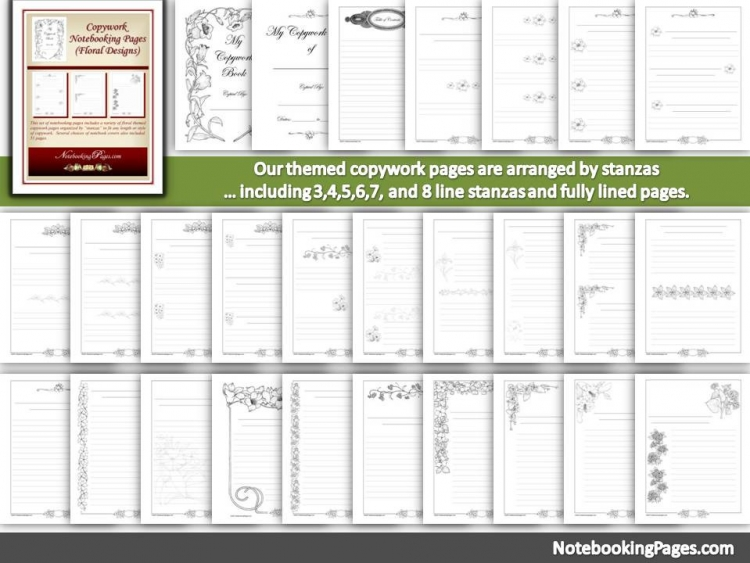 Floral Copywork Notebooking Pages