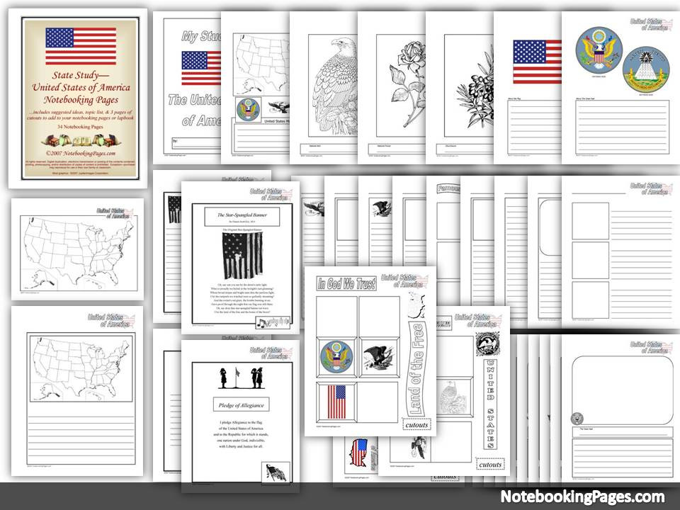 USA Notebooking Pages