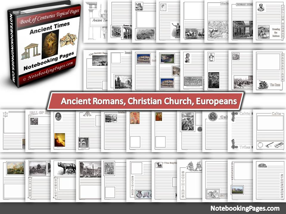 Ancient Romans, Christian Church, & Europeans Notebooking Pages