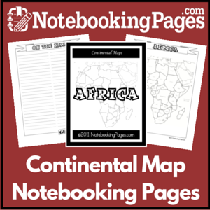 Continental Map Notebooking Pages