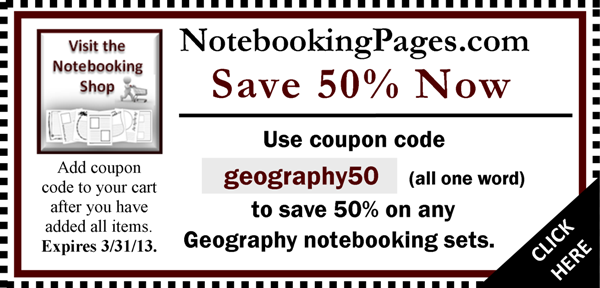Coupon for Geography Notebooking Pages