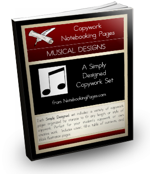 Copywork Notebooking Pages - Musical Designs
