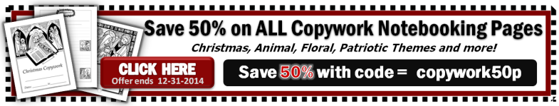 Save 50% on ALL Copywork Notebooking Pages
