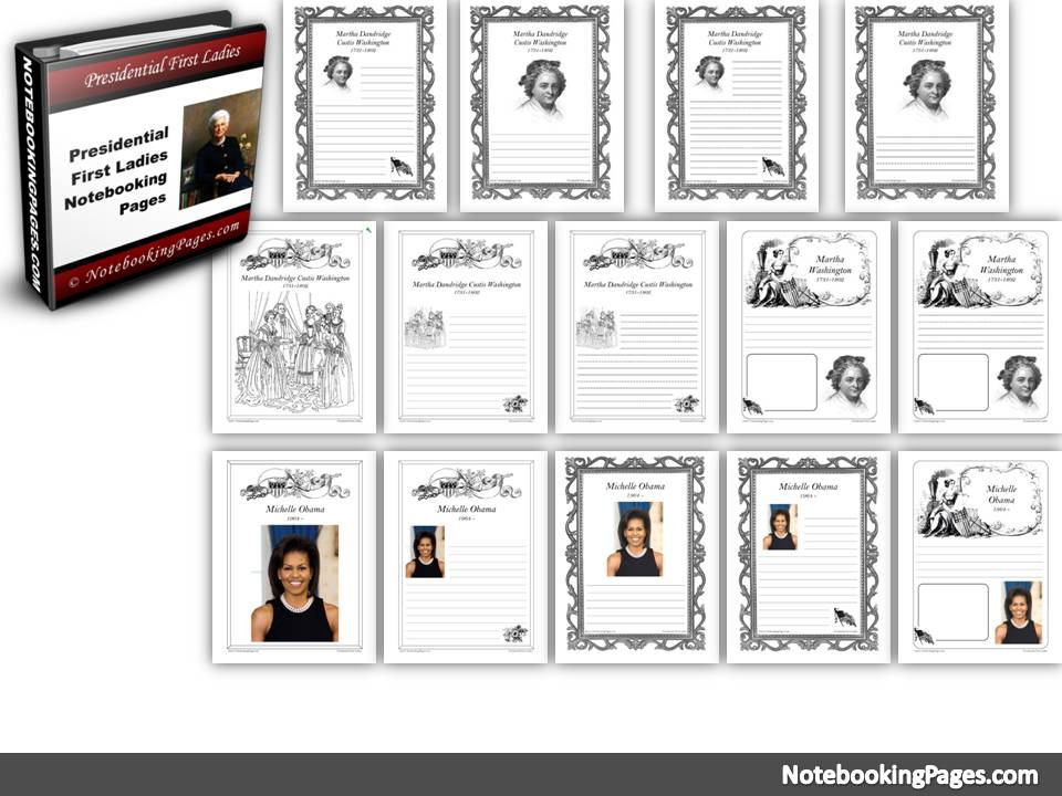 Presidential First Ladies Notebooking Pages
