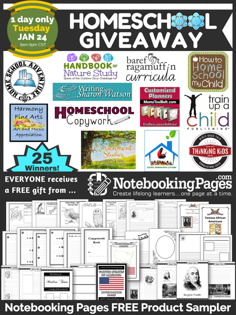 Notebooking Pages Winter Homeschool Giveaway