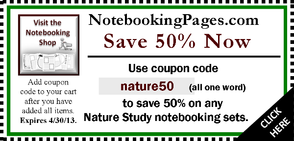 Coupon for Nature Study Notebooking Pages