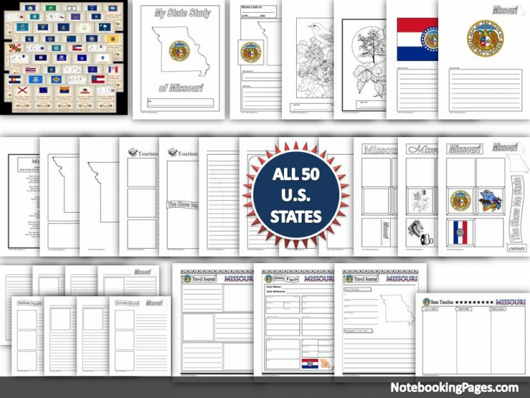 U. S. Geography State Study Notebooking Pages