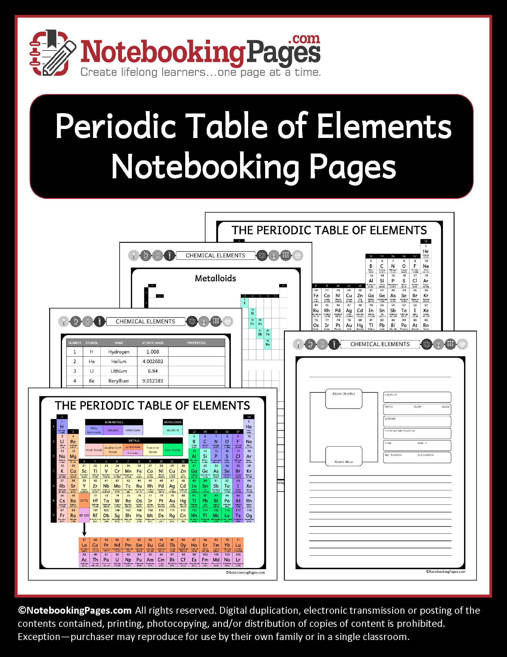 Periodic Table of Elements Notebooking Pages