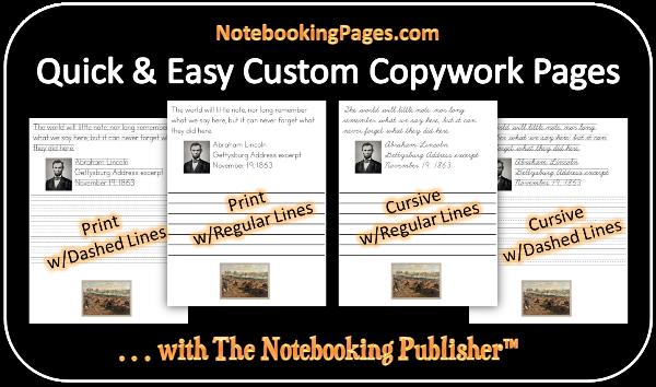 NotebookingPages.com copywork program